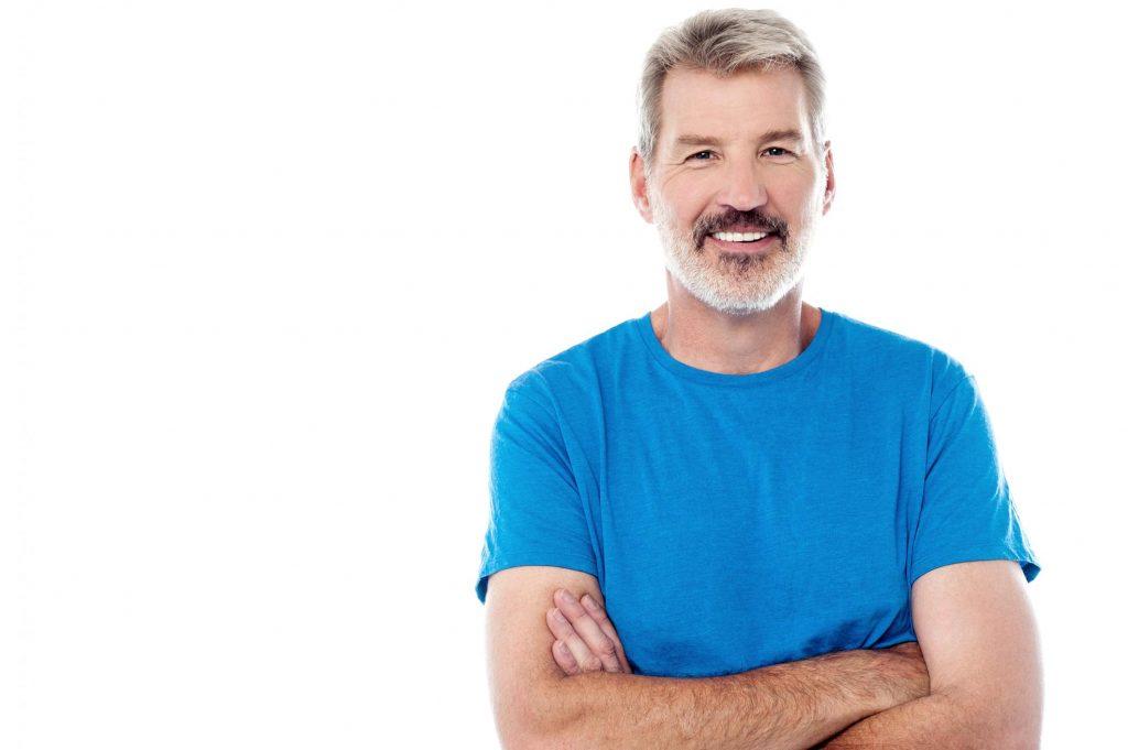 old man wearing blue shirt
